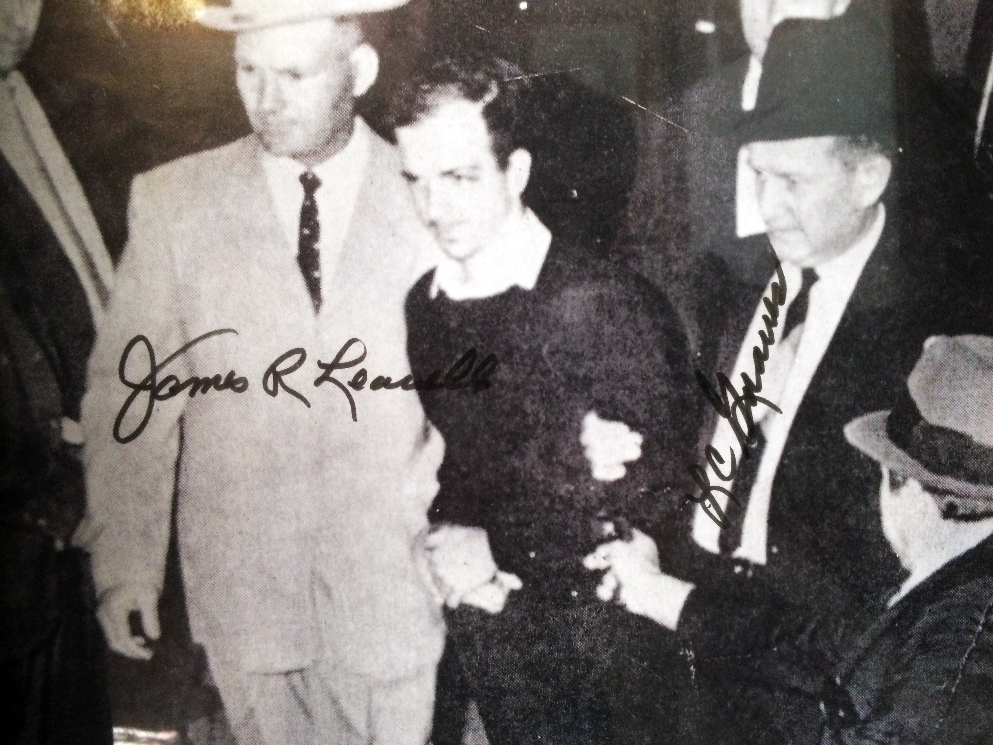 Jim Leavelle and RC Graves autographed phoptograph of Ruby shooting Oswald